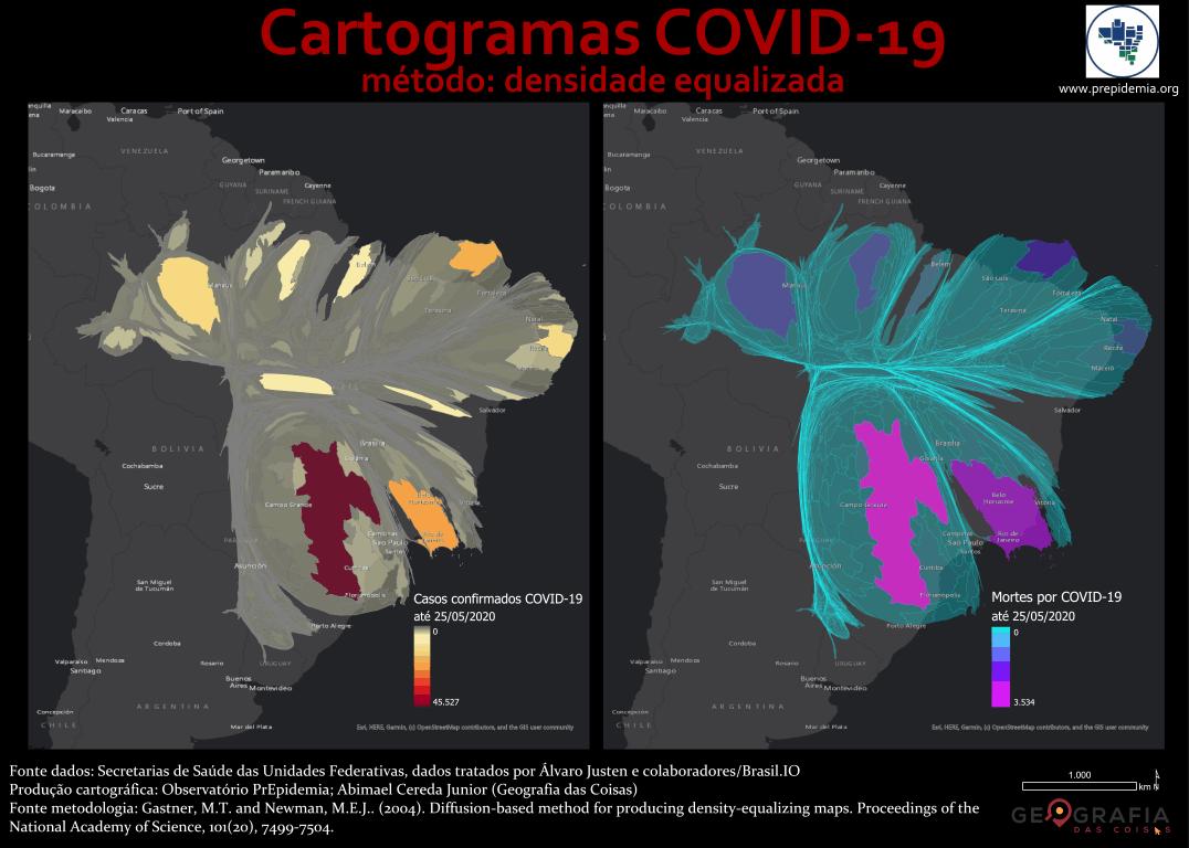 Cartogramas COVID-19 - Casos confirmados e mortes